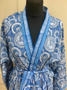 BLUE CIRCLE PRINT KIMONO STYLE KNEE LENGTH DRESSING GOWN