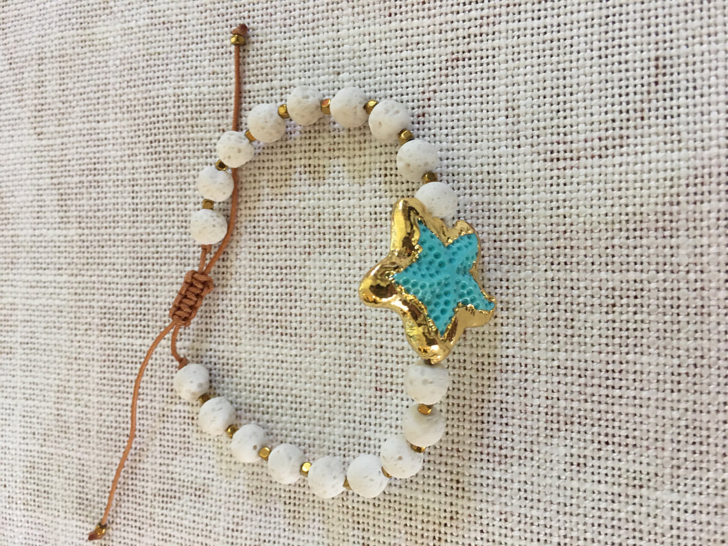 Aegean White, Blue and Gold Starfish Bracelet