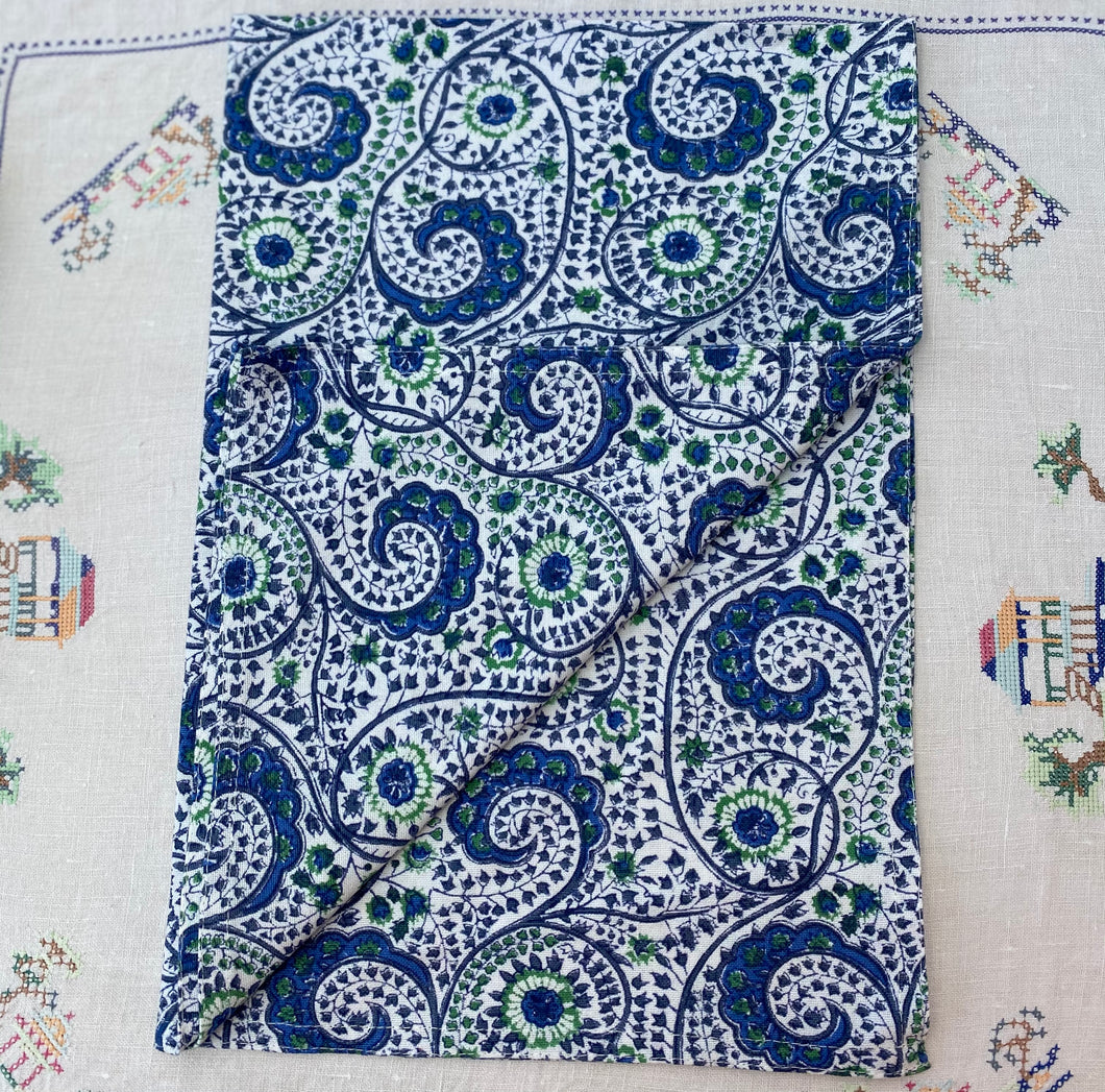 Blue and Green Paisley Teatowel