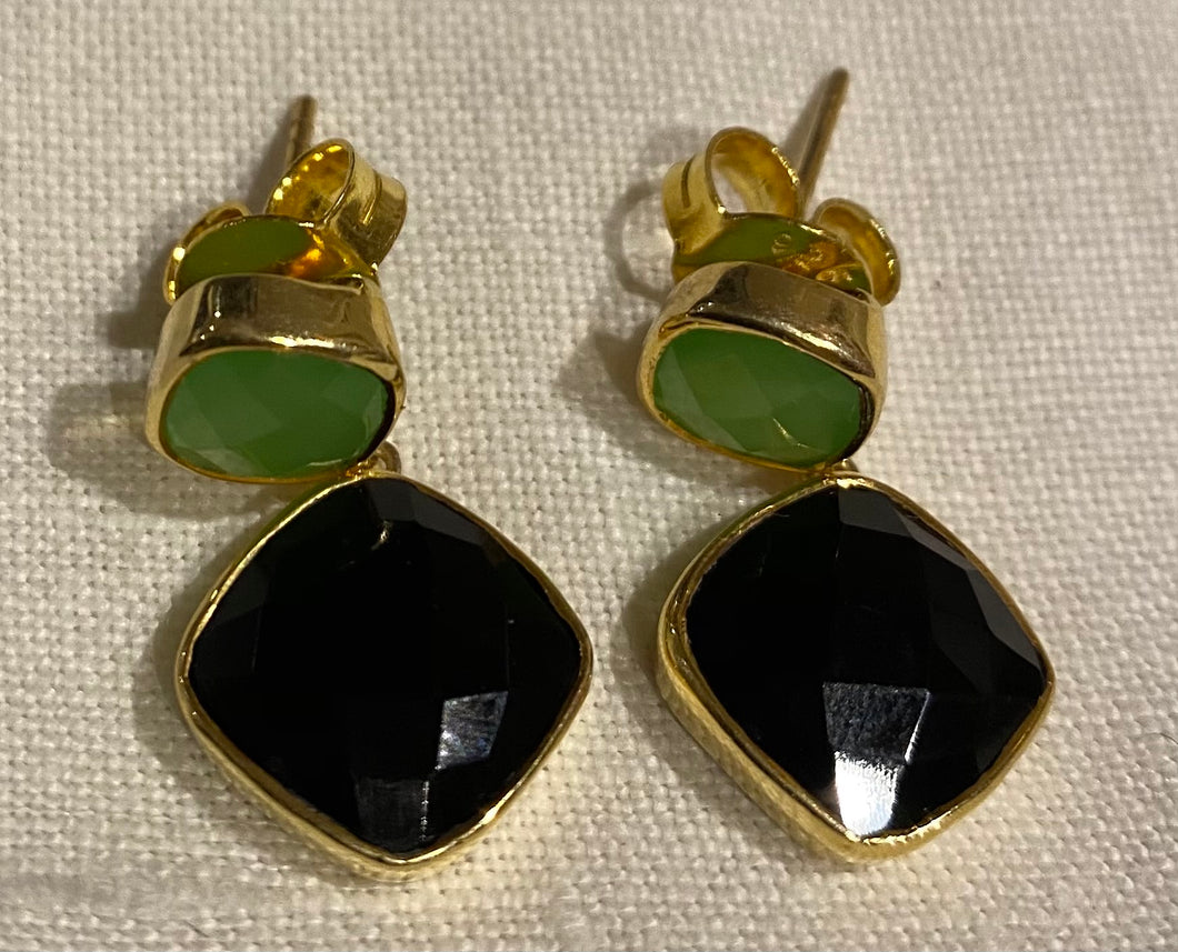 Green Chalcedony and Black Onyx Delilah Earrings
