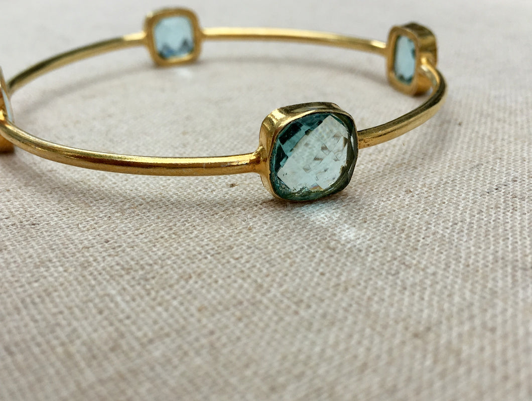 Gold and Blue Topaz Rani Bracelet