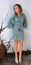 Tallulah Dress in Aqua/Pink