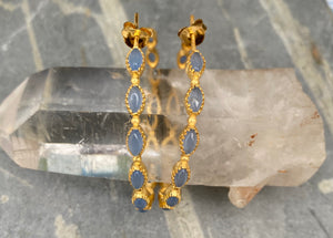 Blue Chalcedony Saffi Hoop Earrings