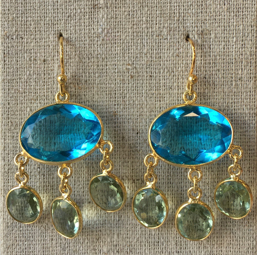 Blue Topaz and Peridot Amara Earrings....MORE STOCK EXPECTED NEXT WEEK