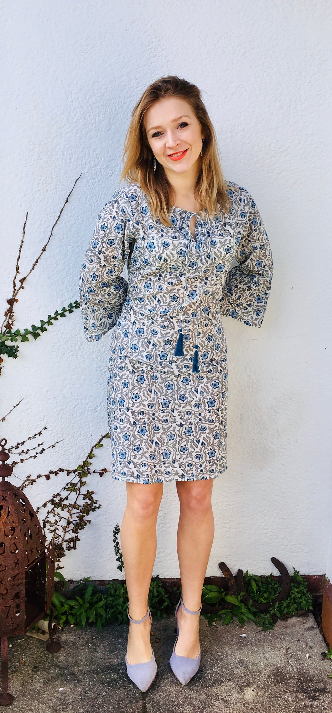 Tallulah Dress in Lapis Daisy
