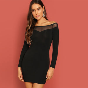 Black Bodycon Stretchy Plain Dress