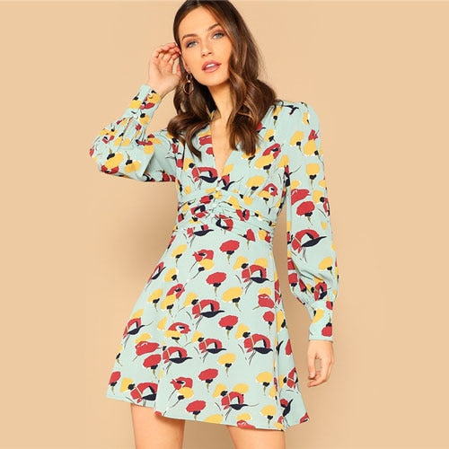 Button Front Deep V Neck Floral Print Dress