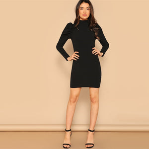 Black Mock Neck Stand Collar   Short Dress