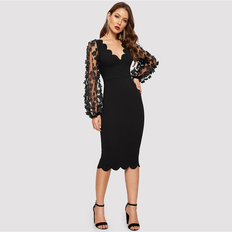 Black Elegant Sleeve Scallop Dress