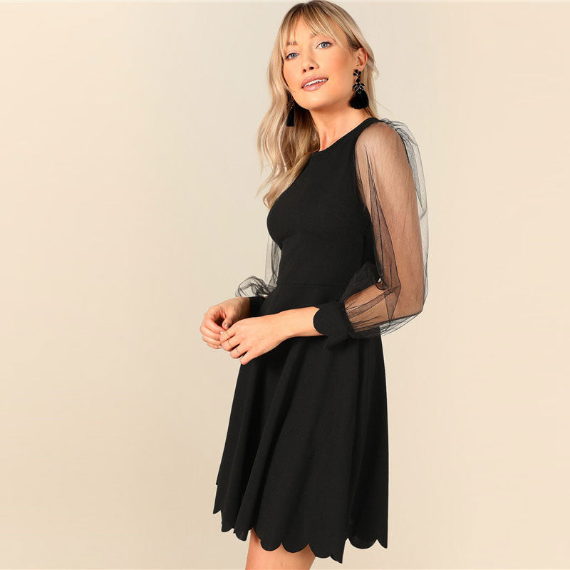 Black Lace Fit And Flare Dress
