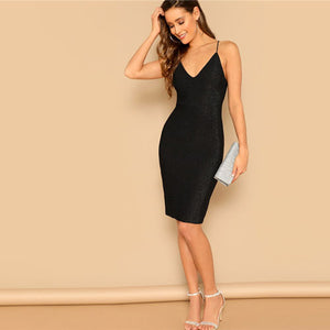 Black Lace-Up  Back Glitter Bodycon Dress