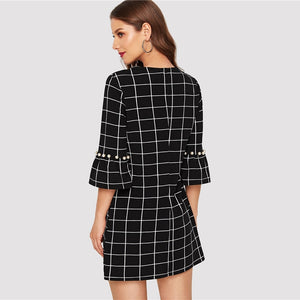 Black Pearl Beading  Flounce Sleeve Grid  Dress