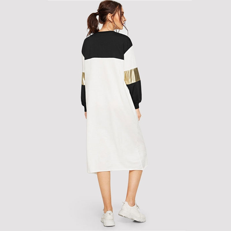 Pocket Patched Metallic Panel Colorblock  Dress