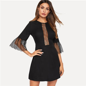 Black Elegant Fit and Flare Mini Dress