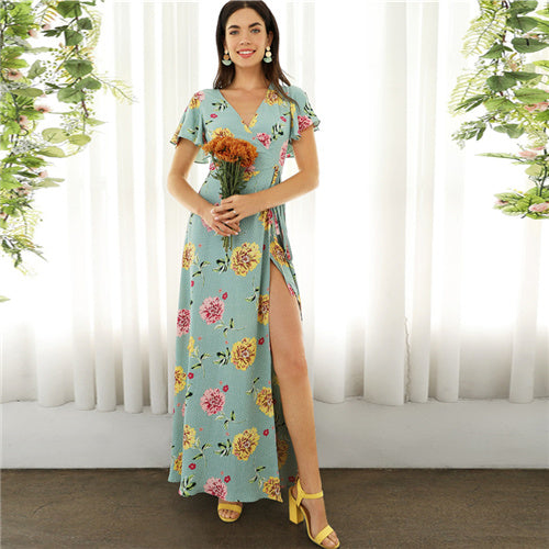Butterfly Sleeve Belted Empire Elegant Dresses