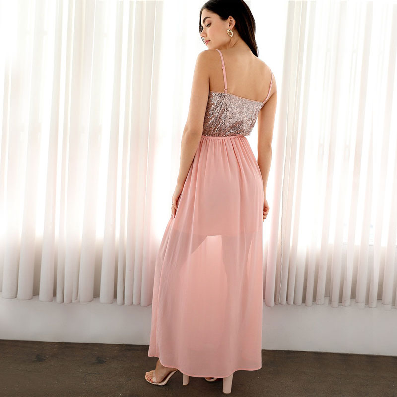 Pink Sequin Bodice Chiffon Maxi Dress