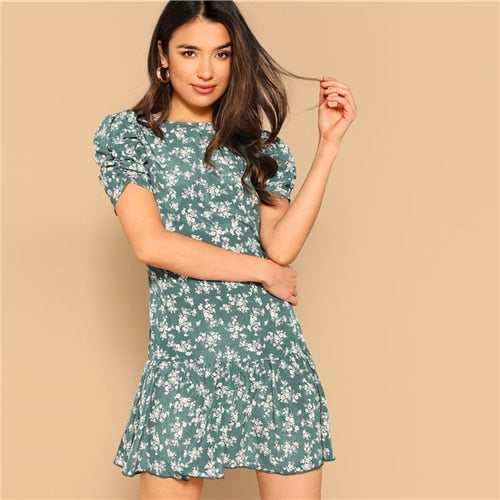 Floral Zipper Short Dress
