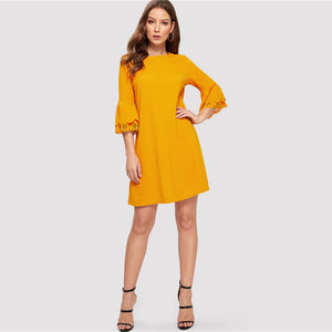 Flounce Sleeve Solid Elegant  Dress