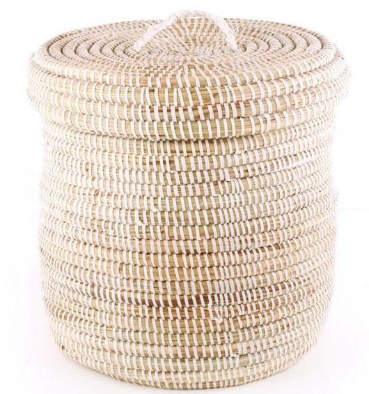Woven Cattail White Storage Basket - Pacific Design Co.