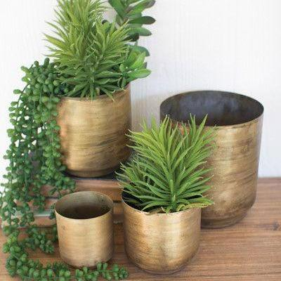 Brass Flower Pots (Set of 4) - Pacific Design Co.