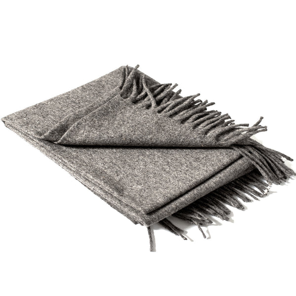 Grey Wool Fringe Blanket - Pacific Design Co.