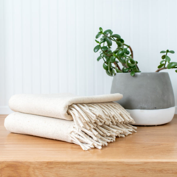 White Wool Fringe Blanket - Pacific Design Co.