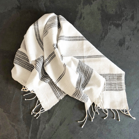 Dayton Cotton Hand Towel - Natural & Gray