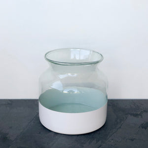 Recycled Glass and White Colorblock Flower Vase