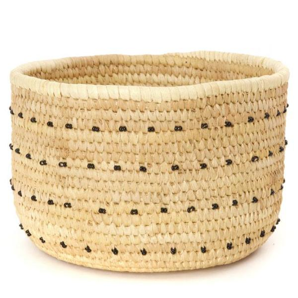 Nomadic Beaded Palm Leaf Basket - Pacific Design Co.