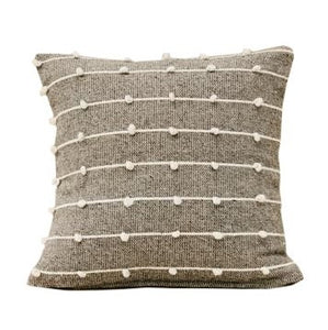 Organic Wool Knotted Pillow in Grey - Pacific Design Co.