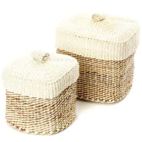 Sisal and Banana Fiber Baskets (Set of 2) - Pacific Design Co.