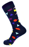 Men's Navy Colorful Shape Dress Socks