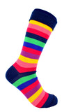 Men's Navy Colour Stripe Dress Socks