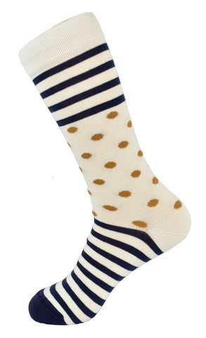 Men's White Dots and Lines Dress Socks