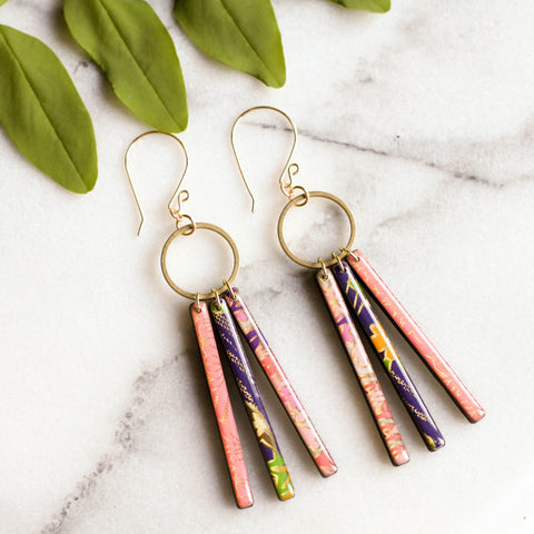 Collage Fringe Earrings- Pink/Purple