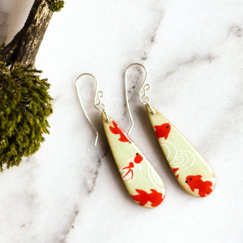 Teardrop Koi Earrings