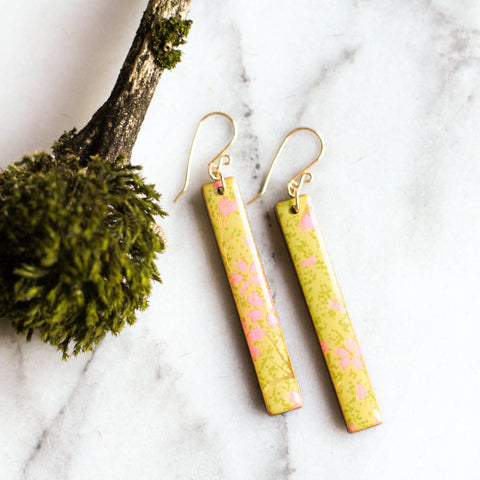 Chartreuse & Pink Bar Earrings