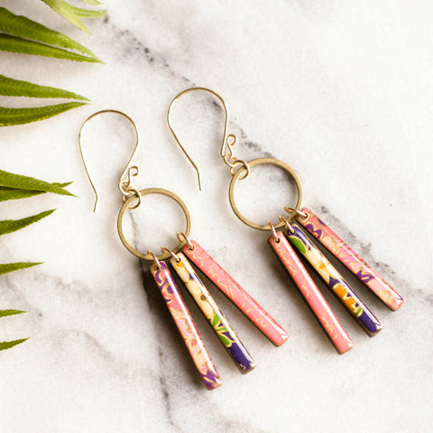 Petite Fringe Earrings- Pink/Purple