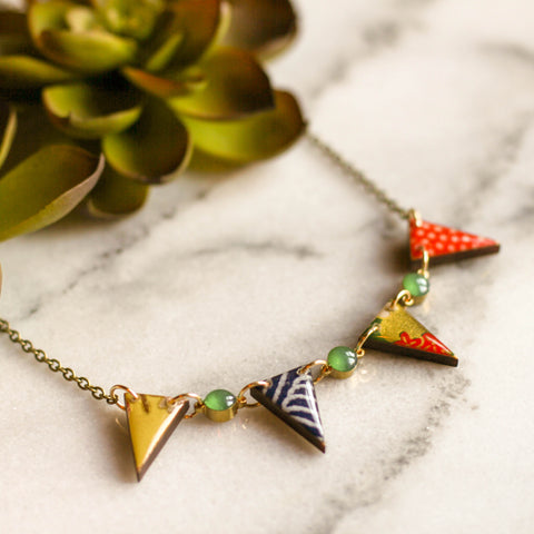 Japanese Pennant Necklace- Bright Green