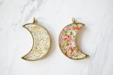 Real Pressed Flower and Resin Celestial Moon Necklace in White and Gold Foil Mix