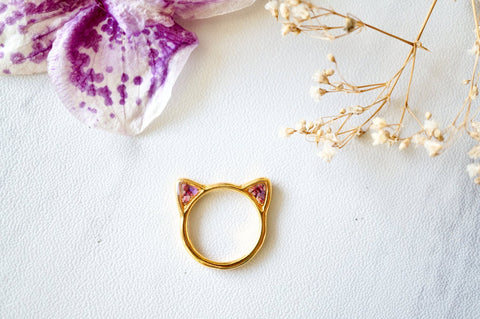 Real Pressed Flower and Resin Gold Cat Ring in Purples