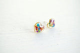 Real Pressed Flower and Resin Heart Stud Earrings in Party Mix