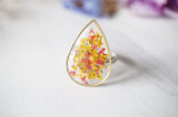 Real Pressed Flower and Resin Ring in Reds and Yellows Mix