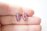 Real Pressed Flowers and Resin Eye Stud Earrings in Jewel Mix