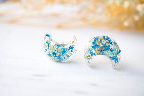 Real Pressed Flowers and Resin Moon Stud Earrings in Mint Blue White
