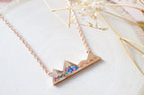 Real Pressed Flowers and Resin Necklace, Rose Gold Mountains in Blue Teal Pink