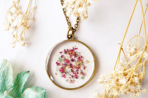 Real Pressed Flowers in Resin, Circle Necklace in Pink Purple Mint Gold Flakes