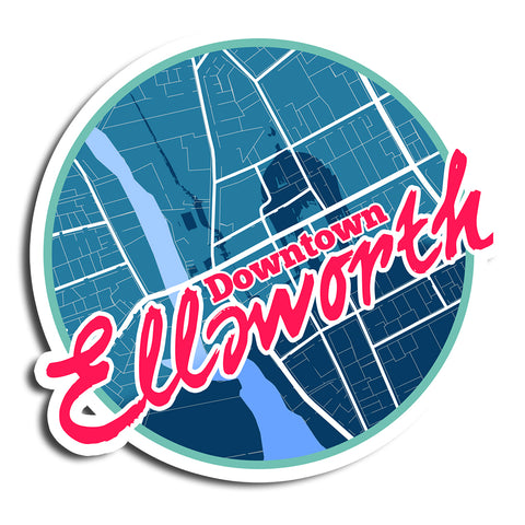 "Downtown Ellsworth Die-Cut Stickers 5.5""x5.5"""