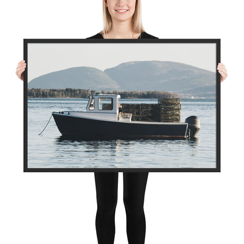 Downeast Maine Lobster Boat // Acadia National Park Framed poster