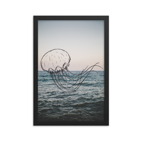 Floating Jellyfish Framed poster